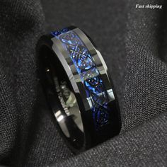 Blue Tungsten Ring Black and Blue Carbon Fiber Wedding Band ATOP Men jewelry. Black Tungsten Rings, Tungsten Carbide Rings, Mens Wedding Rings Tungsten, Wedding Ring Bands, Wedding Jewelry, Mens Wedding Bands Blue, Celtic Wedding Bands, Dragon Blue, Jewelry Rings