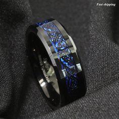 Blue Tungsten Ring Black and Blue Carbon Fiber Wedding Band ATOP Men jewelry. Black Tungsten Rings, Tungsten Carbide Rings, Trendy Fashion Jewelry, Fashion Bracelets, Fashion Men, Biker Fashion, Rock Fashion, Net Fashion, Dragon Blue