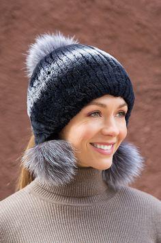 Rex Rabbit Fur Beanie Hat with Fox Fur Poms f315ea57e0a6