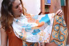 Φουλάρι Γαλάζιο Πουλί – Μεταξωτά Σουφλίου – Μπουρουλίτης