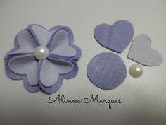 Flor de feltro #9 - Pétala coração duplo - Artesanato - Passo a passo