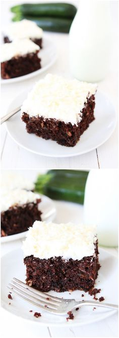 Chocolate Zucchini Coconut Cake Recipe on twopeasandtheirpod.com A MUST make for zucchini season! #cake #zucchini #chocolate