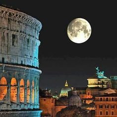 Moonlight over: Rome, Italy                              …