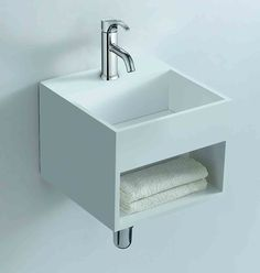 Soakology Ice S-Cast Solid Surface Wash Basin - In-built Shelf. Cool by name, cool by nature, the Ice S-Cast wash basin would be at home in any modern bathroom Minimalist Living, Minimalist Decor, Minimalist Design, Wall Mounted Basins, Wall Mounted Toilet, Wc Design, Design Moderne, Solid Surface, Modern Bathroom