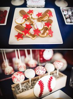 Sporty Home Run Baseball Baby Shower with baseball bat + red star cookies