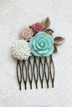 Flower Hair Comb Mint Rose Bridal Hair Comb