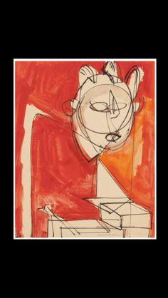 """Hans Hoffman - """" Untitled """", 1944 - Gouache on paper - 58,4 x 47 cm"""