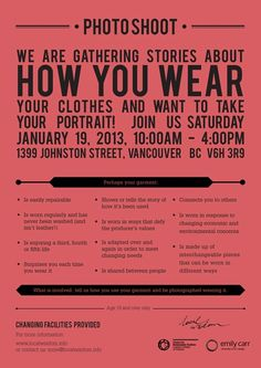 We will be in Vancouver, BC to collect the secret strategies and everyday deep thinking from your closets - 19 January 2013