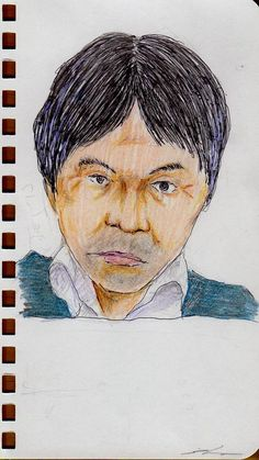 This is a sketch of the man who put on the blue sweater I drew in the office in a company.