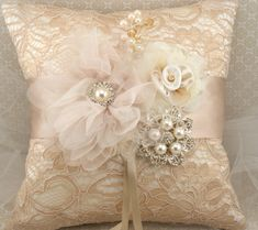 Ring Bearer Pillow - Bridal Pillow in Champagne, Nude and Ivory with Lace, Brooch, Jewels and Pearls- Vintage Passion. $125.00, via Etsy.