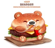 Daily Paint Bearger by Cryptid-Creations on DeviantArt Cute Food Drawings, Cute Animal Drawings Kawaii, Kawaii Art, Animal Puns, Animal Food, Cute Fantasy Creatures, Creature Drawings, Cute Cartoon Wallpapers, Food Illustrations