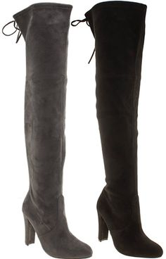 "Schuh ""Misty"" Faux Suede Over-The-Knee Boots in black and grey, £49.99 (Stuart Weitzman Highland dupes)"