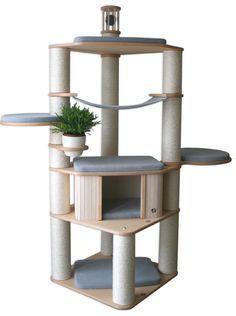 Luxus Kratzbaum Catwalk …wonderful design, lots of scratchings! Luxus Kratzbaum Catwalk …wonderful design, lots of scratchings! Cat Tree House, Diy Cat Tree, Cat Towers, Cat Playground, Cat Shelves, Cat Enclosure, Creation Deco, Pet Furniture, Woodworking Furniture