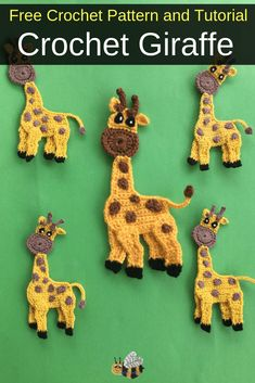 Get this free crochet pattern of a crochet giraffe. - - Get this free giraffe crochet pattern and video tutorial on my website, Kerri's Crochet and learn how to make cute crochet animals. Appliques Au Crochet, Crochet Applique Patterns Free, Crochet Animal Patterns, Stuffed Animal Patterns, Crochet Animals, Crochet Motif, Crochet Flowers, Free Pattern, Cute Crochet