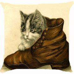 Retro vintage cat kitten old fashion man shoe by fairyland2000, $11.99