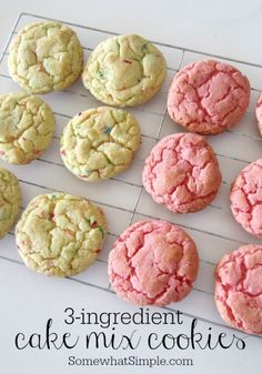 Cake mix cookies INGREDIENTS: 1 (18.25 oz) box of cake mix- any kind. 2 Eggs 1/3 c. Vegetable Oil Optional: Frosting Sprinkles DIRECTIONS: Heat oven to 375. Mix cookie ingredients together. Roll cookies into golf-ball sized balls and place them onto cookie sheet. Cook for 7-9 minutes or until the edges start to brown.