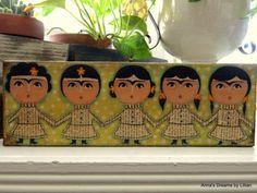 PAPER doll  FRIDA Original Mixed Media by AnnasDreamsbyLillian, $40.00