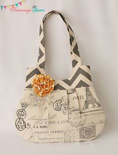 Gray Chevron and French Print Handmade Purse or Shoulder Bag with Yellow Flower Pin Handmade Purses, Handmade Handbags, Diy Sac, Gray Chevron, Mk Bags, Purse Patterns, Fabric Bags, Hobo Bag, Bag Making