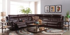 Sussex Lambskin Chocolate Reclining Sectional from New Classic | Coleman Furniture