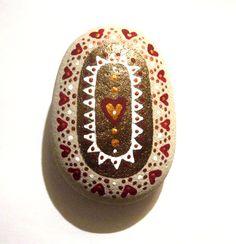 Hand painted art stone/paperweight. by Ludibund on Etsy, £14.00