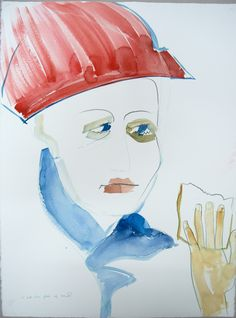 by Zosia Noga, from series: Boy with a piece of bread, watercolour and pencil on paper, 2014.