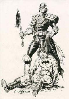 Judge Dredd vs. Batman by Chris Weston