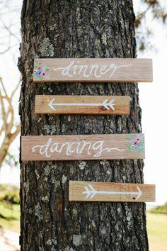 Simple wedding signs: http://www.stylemepretty.com/australia-weddings/new-south-wales-au/byron-bay/2015/01/01/elegant-byron-view-farm-wedding/   Photography: White Images - http://whiteimages.com.au/