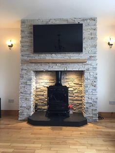Grenada Frost - Fake Stone Cladding Tiles -Outdoor/Indoor Use - Deco Stones Wood Burner Fireplace, Fireplace Update, Fireplace Wall, Fireplace Design, Fireplace Ideas, Stone Cladding Tiles, Chimney Decor, Garden Room Extensions, Chimney Breast