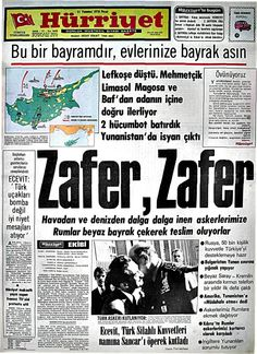 21 Temmuz 1974 hurriyet Newspaper Headlines, Old Newspaper, Trivia Of The Day, Turkey History, Nicosia Cyprus, Newspaper Archives, Andromeda Galaxy, Important Facts, Historical Pictures