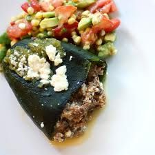 Theo's Poblano Peppers. Delicious peppers stuffed with feta and olives.