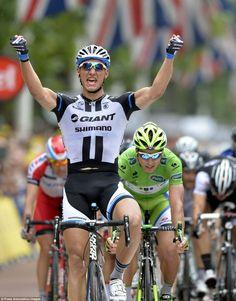 Victory: Marcel Kittel celebrates after winning stage three of the 101st edition of the To...