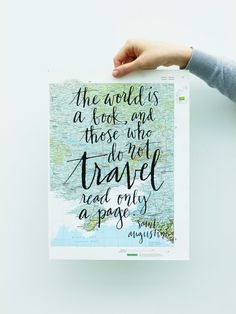 the world is a book, and those who do not travel read only a page. Travel Quote Screen Print on Vintage Atlas Page, $22