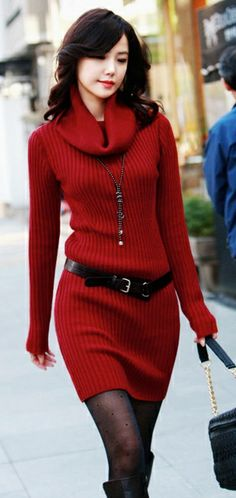 Long Sleeve Turtle Neck Sweater Dress - Wine Red