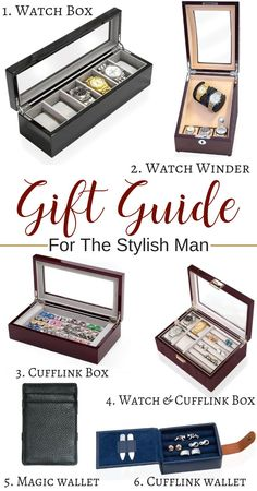 Long Watch Box with Glass Top 6 Compartments Black - Unique Gifts for Guys - Gift Guide For Men, Holiday Gift Guide, Christmas Gifts For Men, Holiday Gifts, Top Gifts, Best Gifts, Personalised Gifts For Him, Unique Gifts For Men, Perfect Gift For Him