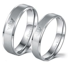 King and Queen Stainless Steel Ring Sets - His and Hers Couple Wedding Band Set Anniversary Engagement Promise Ring King Queen Rings, King Ring, Queen Crown, Stainless Steel Wedding Bands, Stainless Steel Jewelry, Promise Rings For Couples, Rings For Men, Wedding Band Sets, Wedding Rings