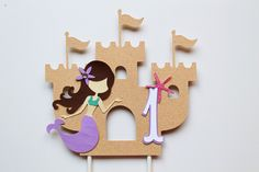 Mermaid Cake Topper - SMASH CAKE SIZE - Sand Castle Topper - Under the Sea Birthday - Mermaid Party - Mermaid Decorations