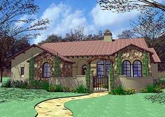 architecturaldesigns.com= tuscan home plans.  Would do in stucco & tile only.   3/2 1780 sq ft