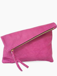 Oversized Leather Fold Clutch - This oversized leather fold clutch really can go perfectly with anything.