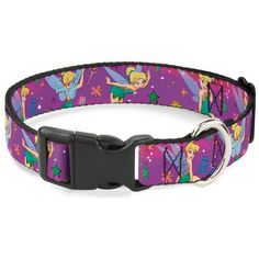 Buckle-Down Tinker Bell Poses/Flowers/Stars/Skull Purple Plastic Clip Collar ** Want to know more, click on the image. (This is an affiliate link and I receive a commission for the sales)