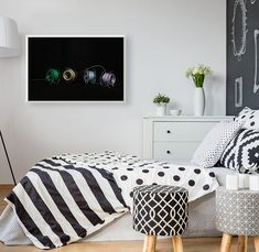 [ Black And White Bedding On Comfortable Bed In Modern Bedroom Lunch Atop A Skyscraper, Wall Murals, Wall Art, Most Famous Paintings, Art Paintings, White Tulips, Floating Frame, White Bedding, Best Teacher