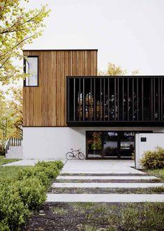 Zina Baklanova (Minimalisme via Arcfly) Modern House Facades, Modern House Design, Modern Architecture, Design Exterior, Modern Exterior, Dream House Exterior, Facade House, Future House, New Homes