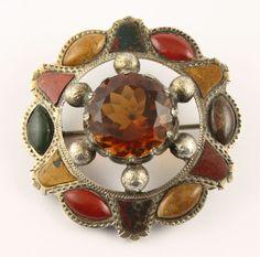 Antique Victorian c 1890 silver Scottish agate Cairngorm citrine brooch pin