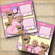 MOM ~ MOTHER'S DAY ~ 2 premade scrapbook pages paper 4 album layout  ~ DIGISCRAP