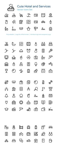 110+ Hotel and Services Vector Icons. Icons. $11.00