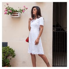 ivory midi dress with crochet lace in a-line MOUNIRA Elegant Midi Dresses, White Midi Dress, Chiffon Skirt, Silk Chiffon, Civil Wedding, A Perfect Day, Flare Skirt, Santorini, Crochet Lace