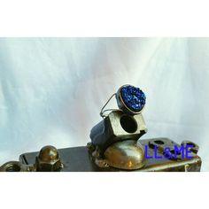 Blue and purple galaxy druzy stone ring raw crystal by LouLeeAndMe