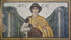 Ktisis, goddess of the foundation of buildings and cities, and personification of generosity and donation is depicted here holding a measuring rod. The 56 th century floor mosaic can be found in the Villa of the Amazons