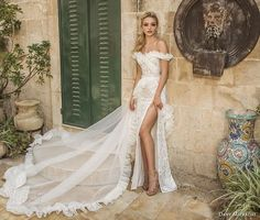 dany mizrachi spring 2018 bridal off the shoulder sweetheart neckline full embellishment high slit sheath wedding dress chapel train (11) mv -- Dany Mizrachi Spring 2018 Wedding Dresses
