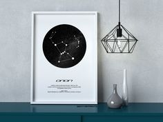 Orion Star Constellation, Printable Art, Black and White, Instant download, Wall Poster, Astronomy, Navigation, Star Gift, Star Map Printable Art, Printables, Star Constellations, Star Gift, Black And White Drawing, Art File, Poster Wall, Astronomy, Printer