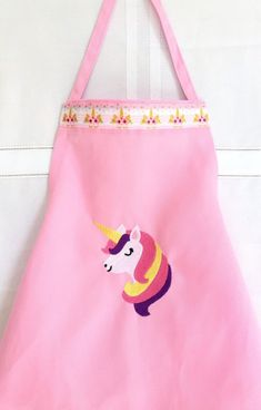 01c16e67659d Pink Apron for Girls - Personalized Girls Apron - Kids Apron - Unicorn Apron  Girls - Baking Apron Kids - Art Smock